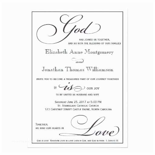 Religious Wedding Invitation Wording God is Love Christian Script Wedding Invitation