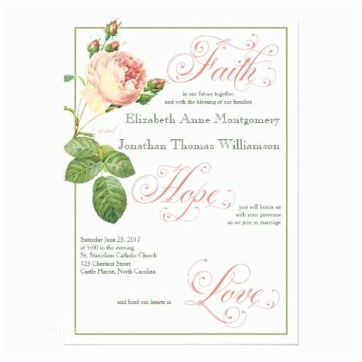 Religious Wedding Invitations Cabbage Rose Christian Wedding Invitation