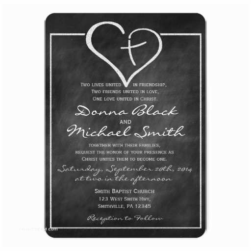 Religious Wedding Invitations Crossed Heart Religious Wedding Invitations
