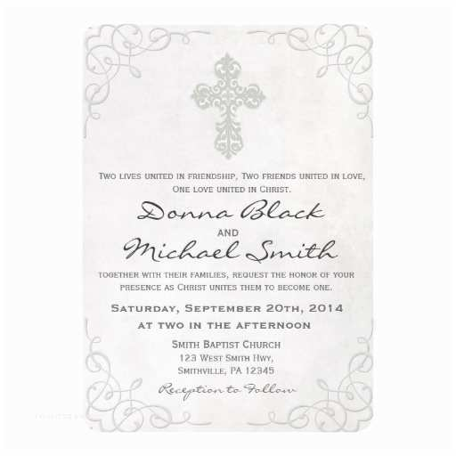 Religious Wedding Invitations Delicate Cross Religious Wedding Invitations