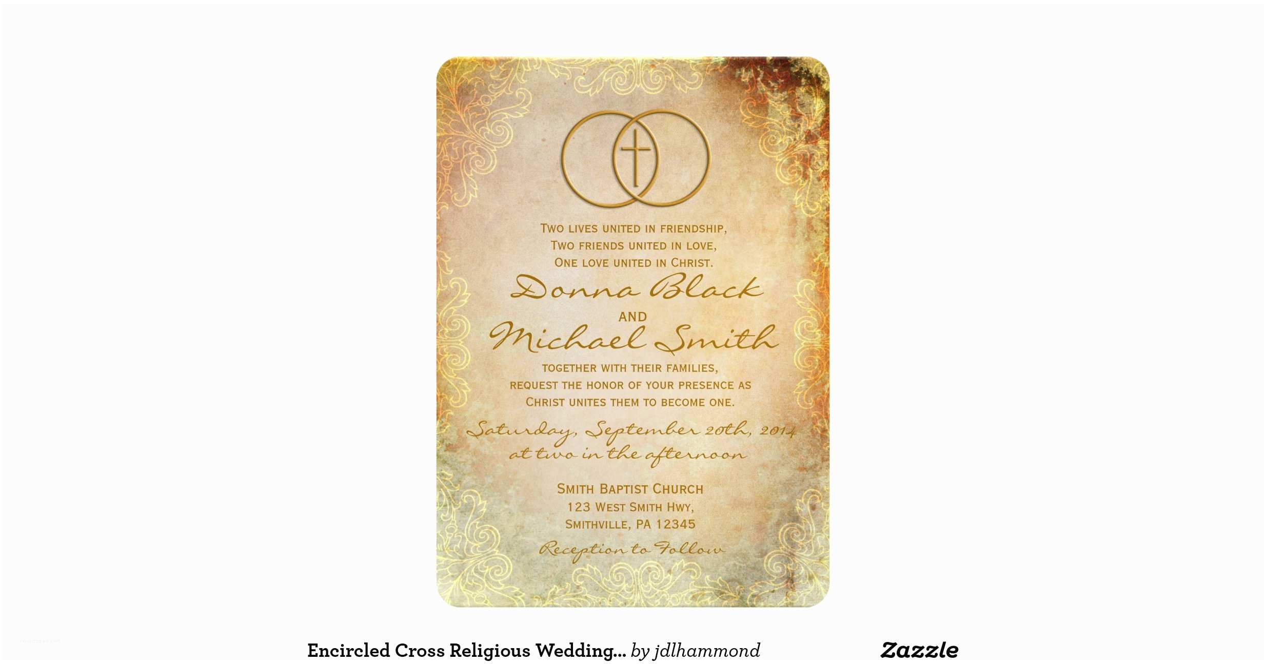 Religious Wedding Invitations Encircled Cross Religious Wedding Invitations
