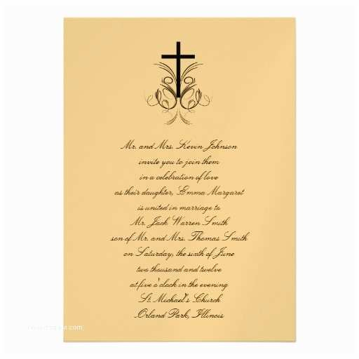 "Religious Wedding Invitations Floral Cross Christian Wedding Invitation Gold 5"" X 7"