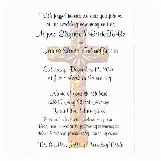 Religious Wedding Invitations Gold Cross Religious Wedding Custom Invitations