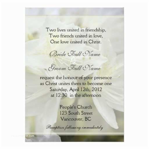 Religious Wedding Invitations Pretty White Azalea Flowers Christian Wedding Personalized