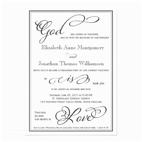 Religious Wedding Invitations Simple God is Love Christian Wedding Invitation