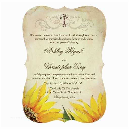 Religious Wedding Invitations Sunflower Christian Wedding Invitation Set – Wedding