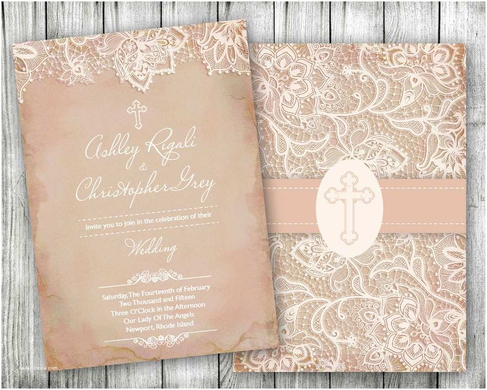 Religious Wedding Invitations Vintage Lace Christian Wedding Invitations Cross Pink