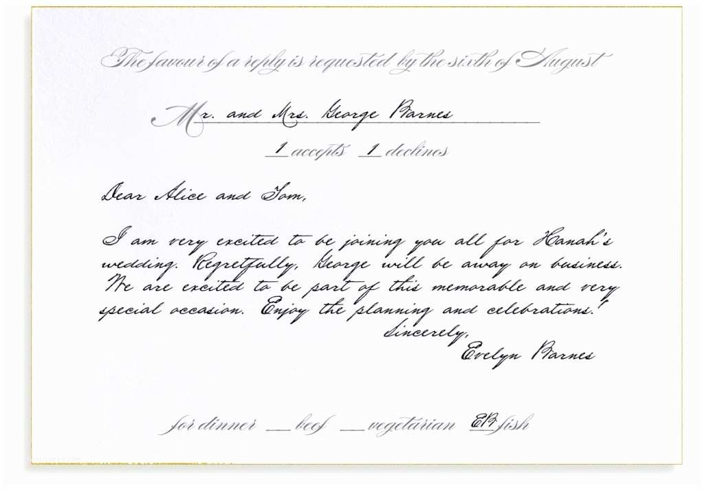 Reply to Wedding Invitation Rsvp Etiquette Traditional Favor Dinner Options Filled Out