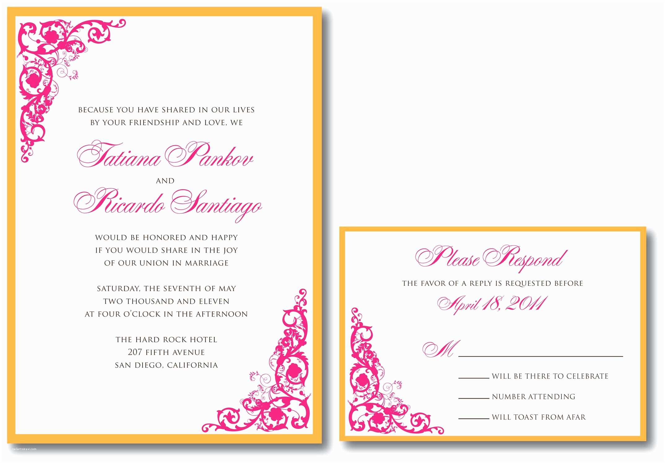 Response Card for Wedding Invitation Wording Dinner Invitation Template Dinner Invitation Template
