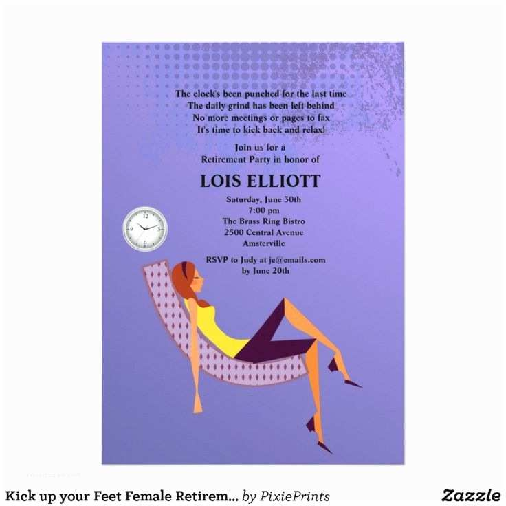 Retirement Invitation Ideas Kick Up Your Feet Female Retirement Party Card