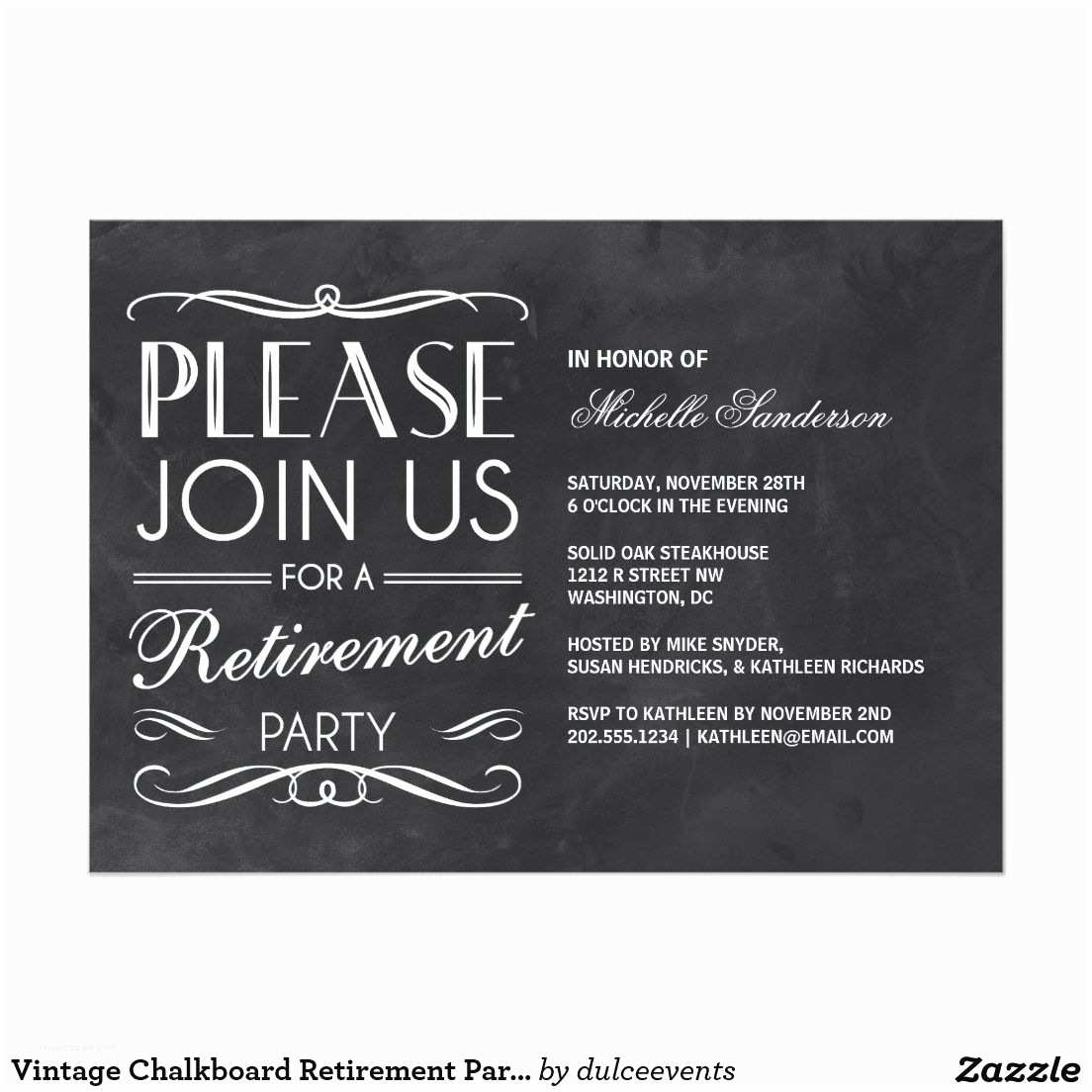 Retirement Invitation Template Vintage Chalkboard Retirement Party 5x7 Paper Invitation