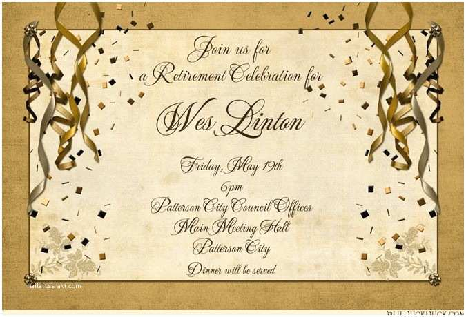 Retirement Invitation Wording Festive Retirement Party Invitation Gold Streamers Glitter