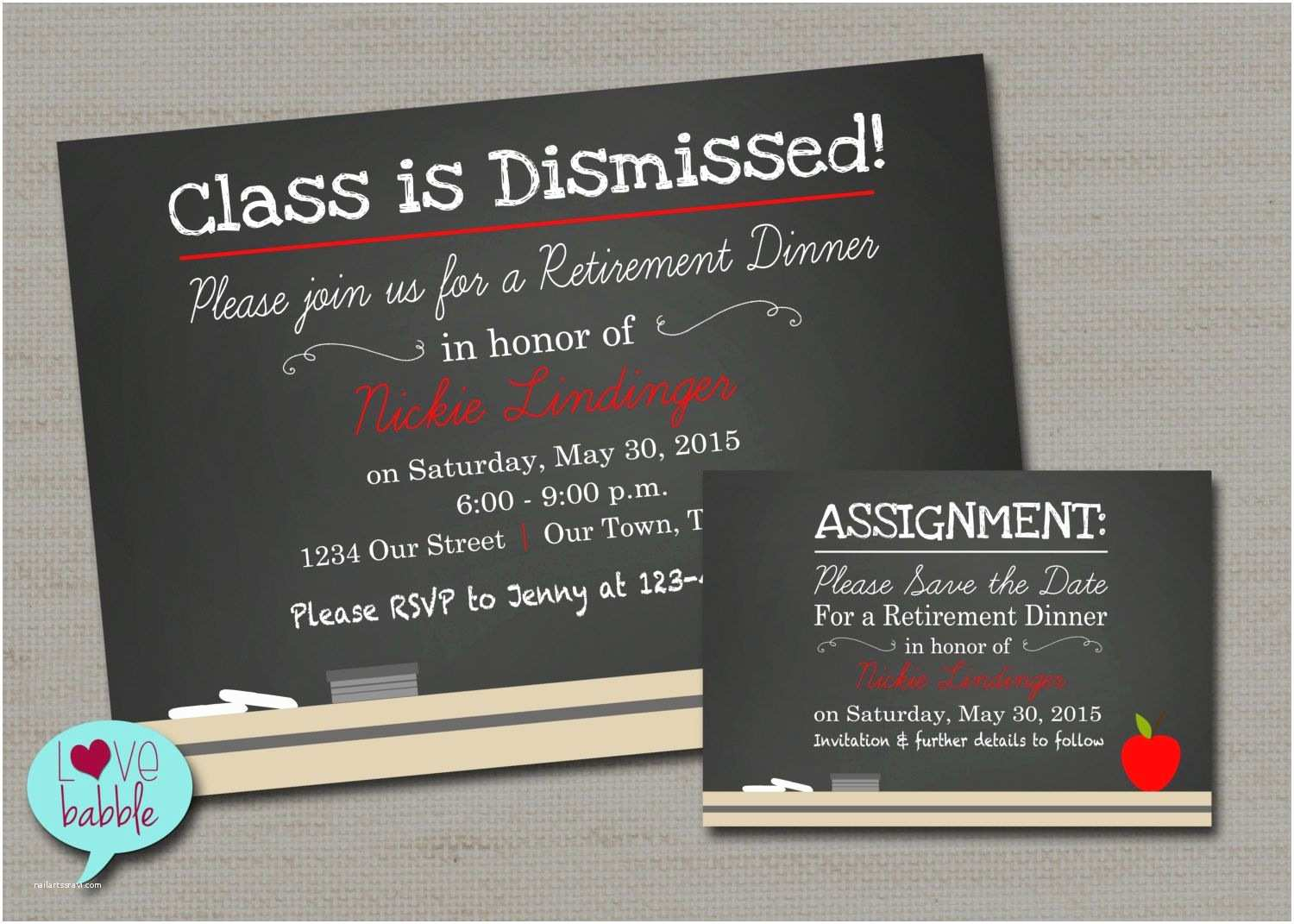 Invitations Chalkboard Teacher School