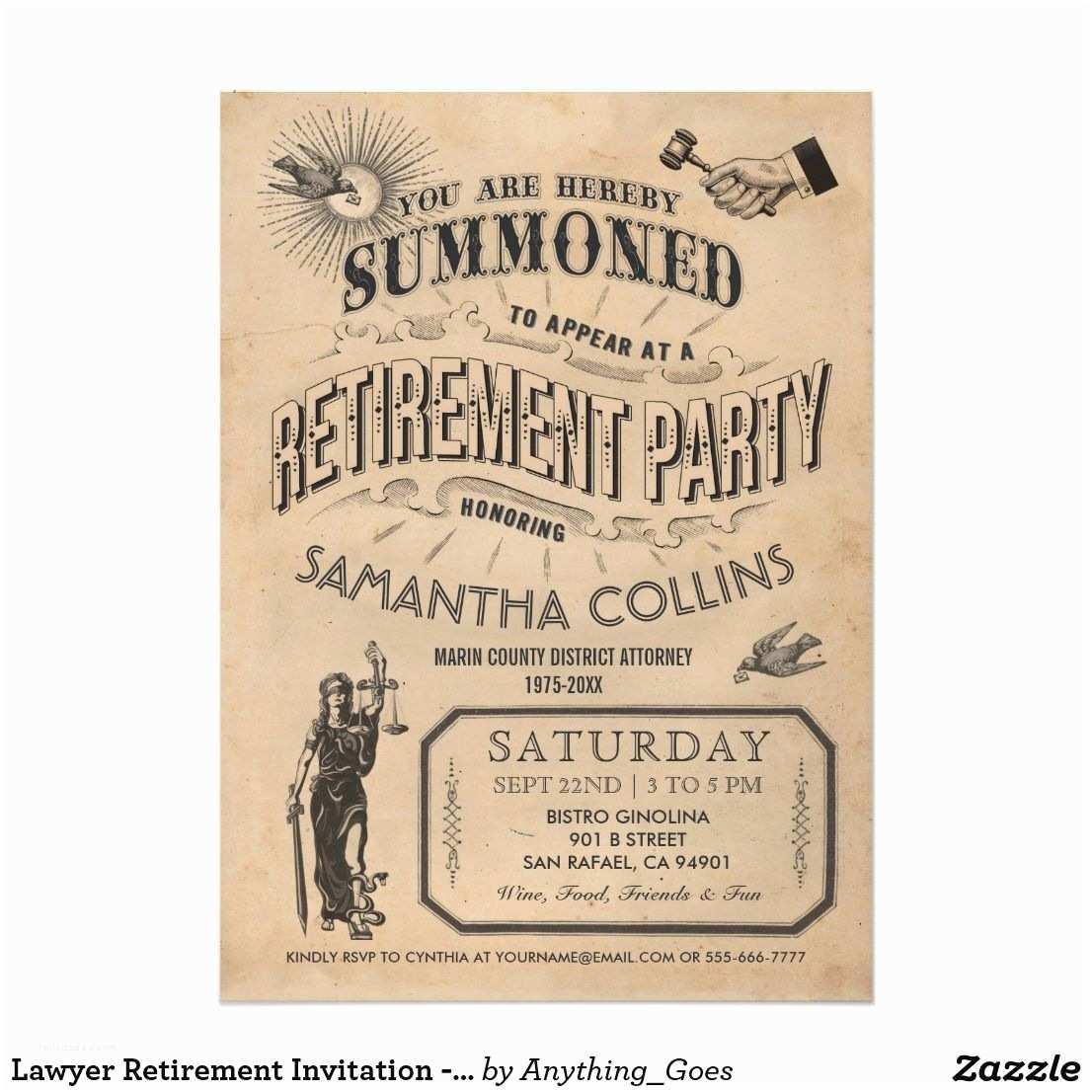 Retirement Invitations Lawyer Retirement Invitation Party Vintage Retro