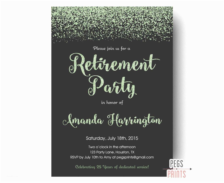 Retirement Invitations Mint Glitter Retirement Party Invitation Retirement Party