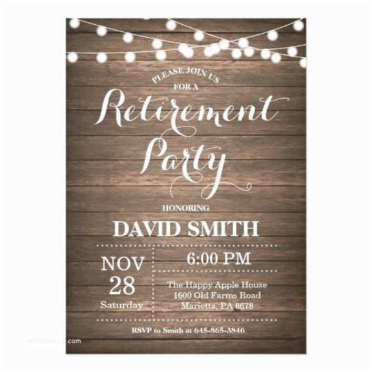 Retirement Invitations Rustic Retirement Party Invitation Card