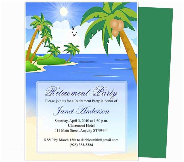 Retirement Party Invitation Template Free Retirement Templates Paradise Retirement Party