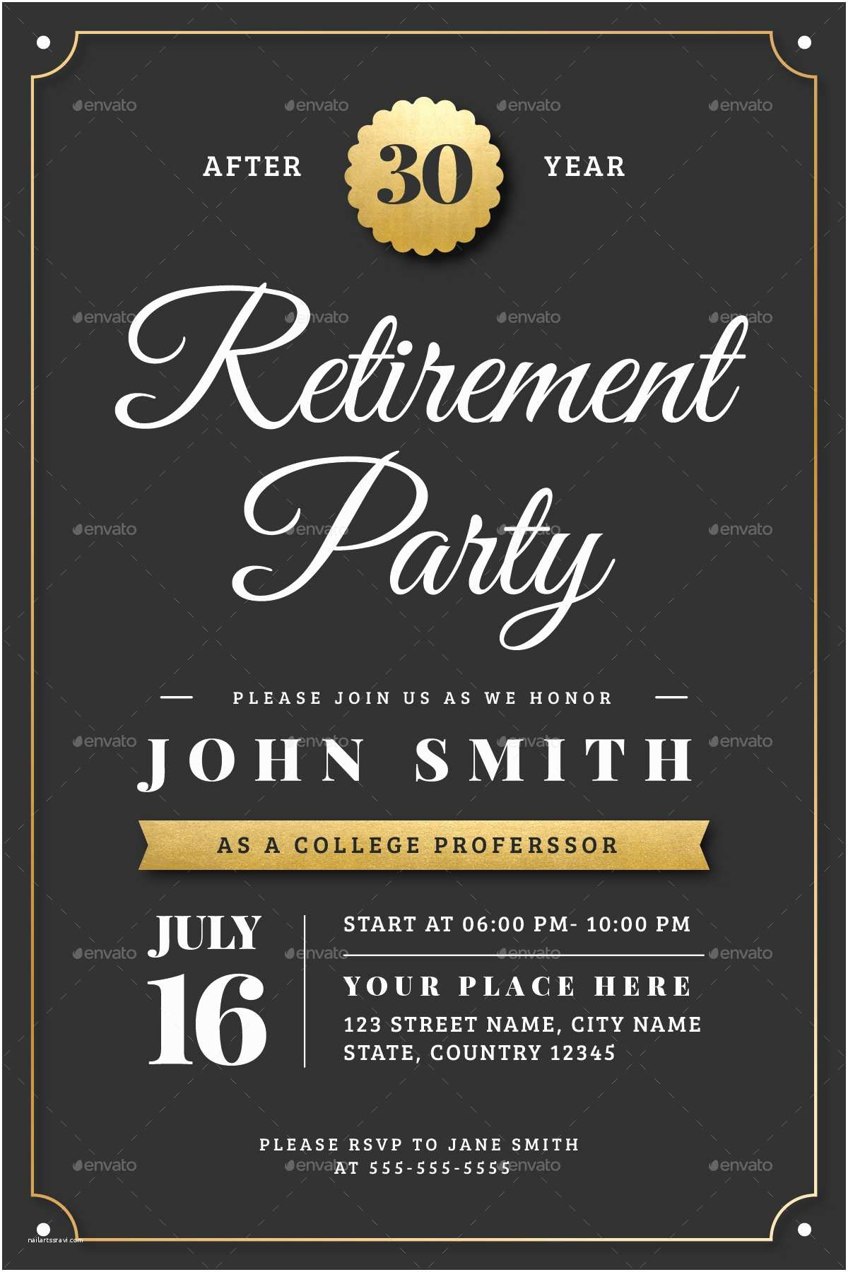 Retirement Party Invitation Template Gold Retirement Invitation Flyer Templates by Vector