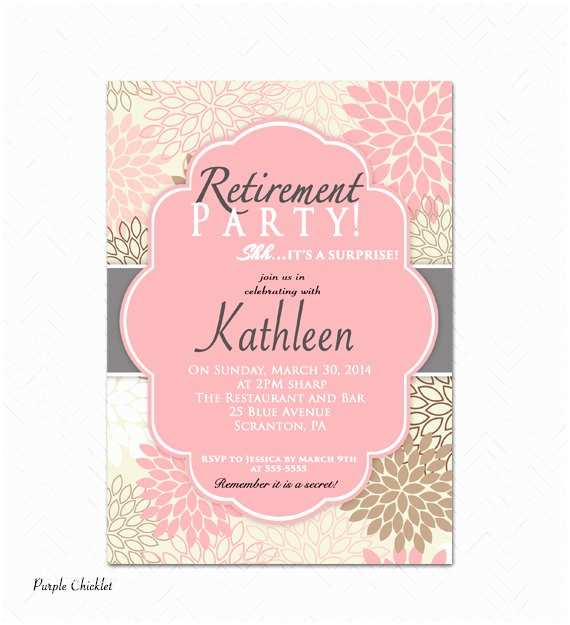 Retirement Party Invitation Template Surprise Retirement Party Invitation Pink Adult by