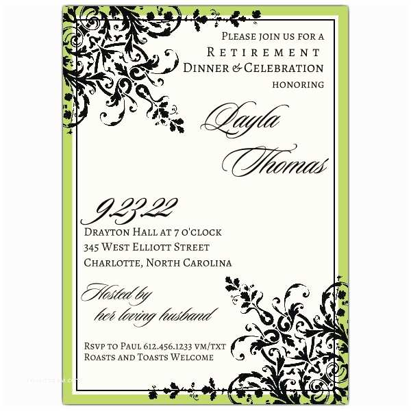 Retirement Party Invitation Wording Black Green ornamental Pattern Retirement Invitations