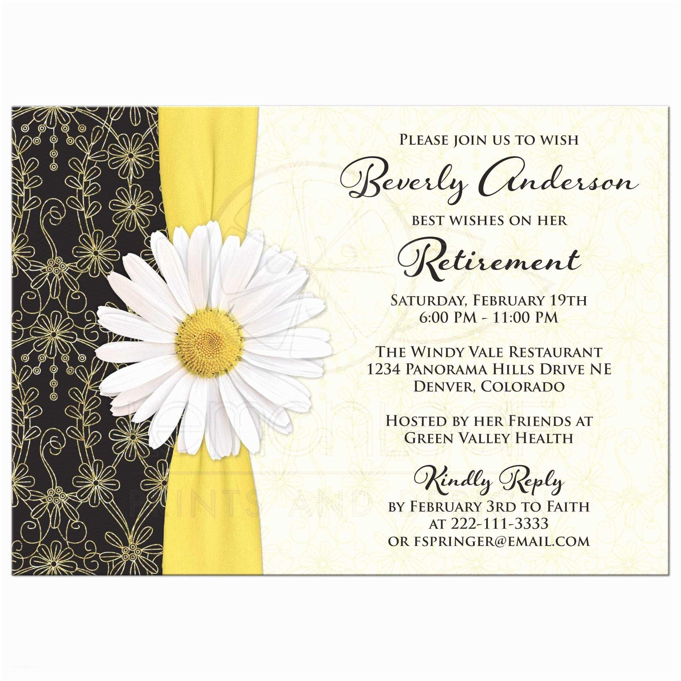 retirement party invitation daisy black gold ivory