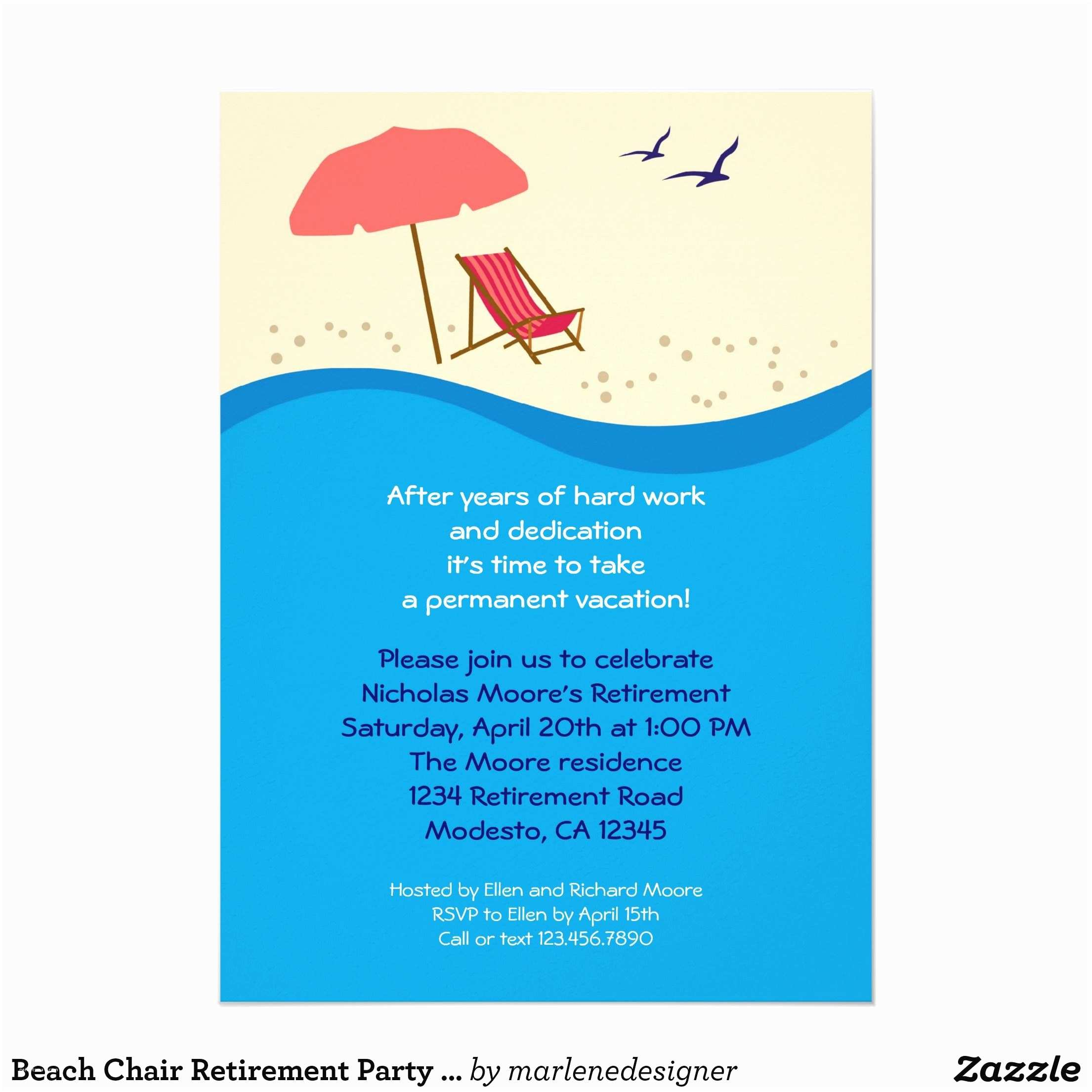Retirement Party Invitations Beach Chair Retirement Party Invitation