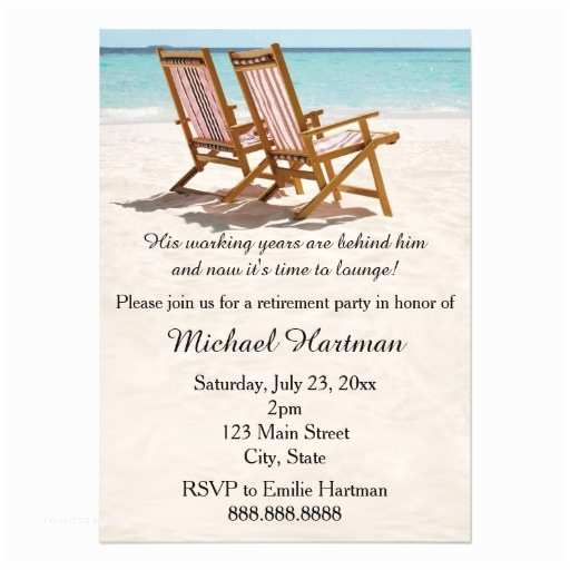 Retirement Party Invitations Beach Chairs Retirement Party Invitations