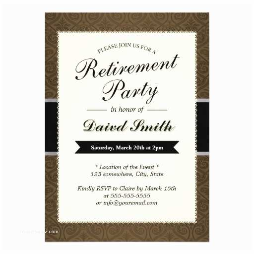 Retirement Party Invitations Classy Brown Damask Retirement Party Invitations