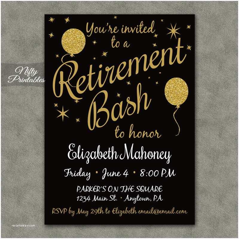 Retirement Party Invitations Glitter Balloons Retirement Invitations Nifty Printables