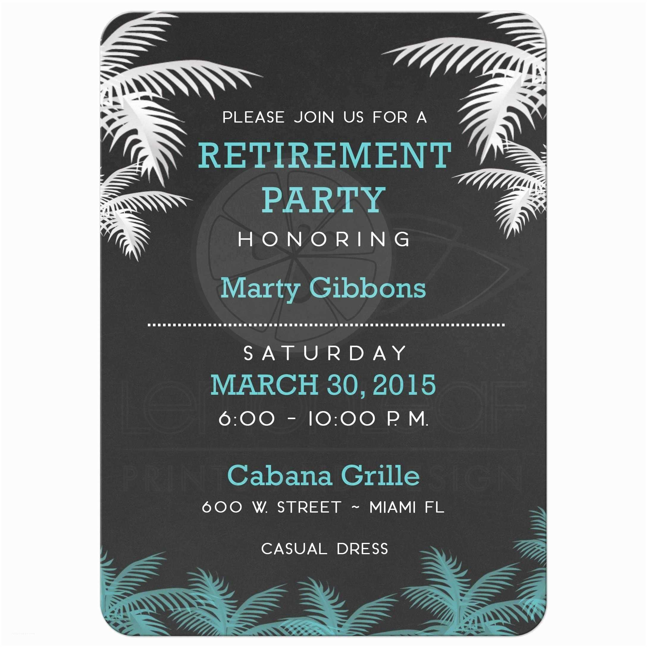 Retirement Party Invitations Palm Tree Tropical Chalkboard Retirement Party Invitation