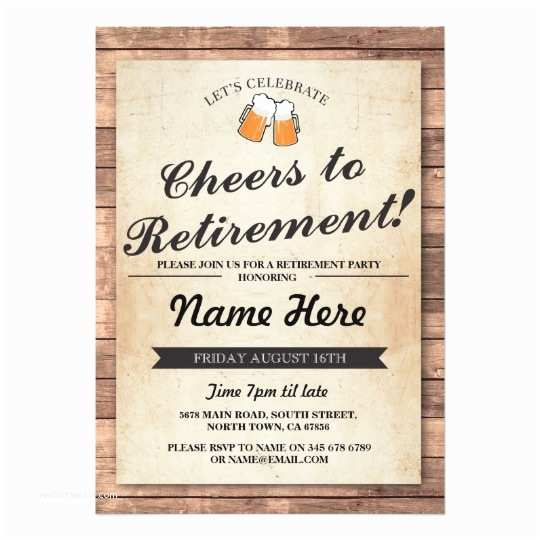 Retirement Party Invitations Retirement Party Cheers Beers Wood Pub Invitation