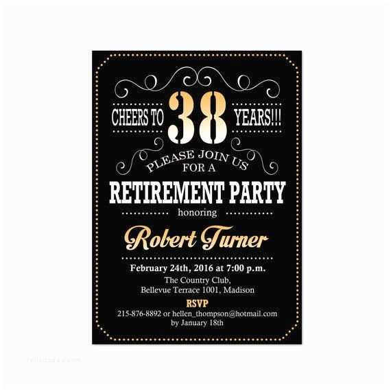 Retirement Party Invitations Retirement Party Invitation Black Gold Digital