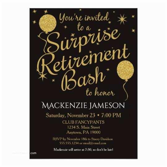 Retirement Party Invitations Surprise Retirement Party Invitation Gold Balloons