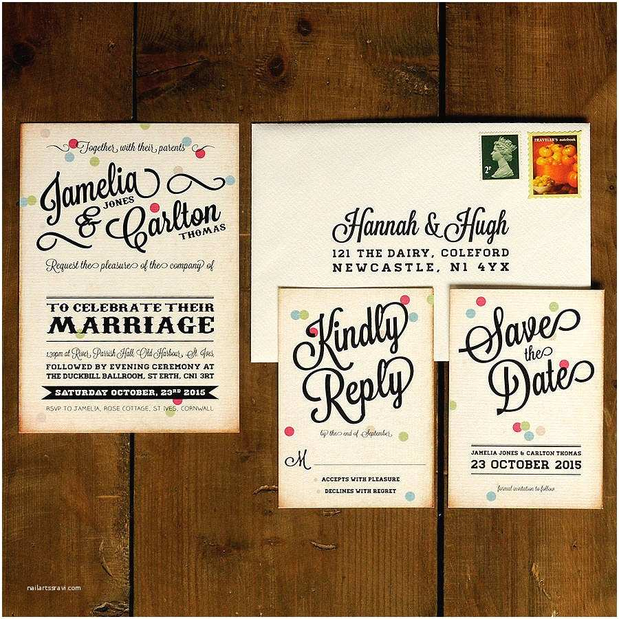 Retro Wedding Invitations Vintage Confetti Wedding Invitation by Feel Good Wedding