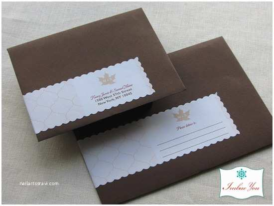 Return Address On Wedding Invitations Rustic Wedding Invitation Fall Leaf Invitation Set