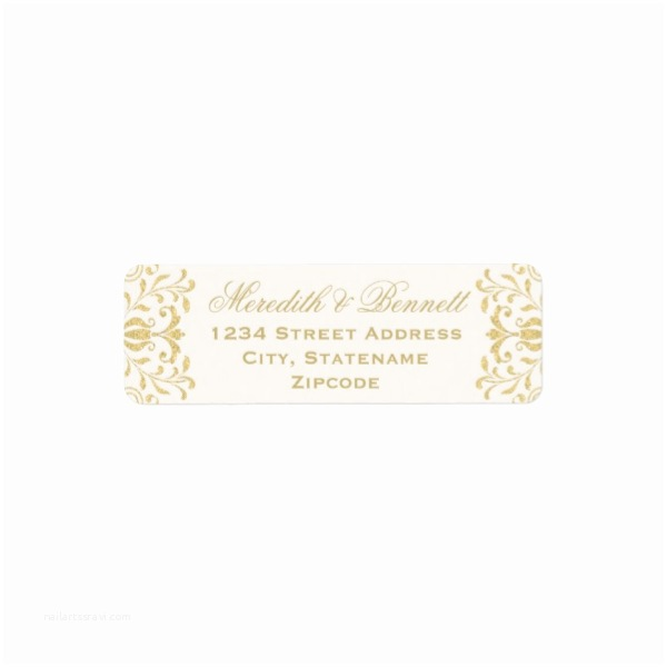 Return Labels for Wedding Invitations Gold Vintage Glamor Return Address Labels Luxury Wedding