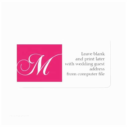 Return Labels for Wedding Invitations Wedding Invitation Address Labels Pink Monogram M