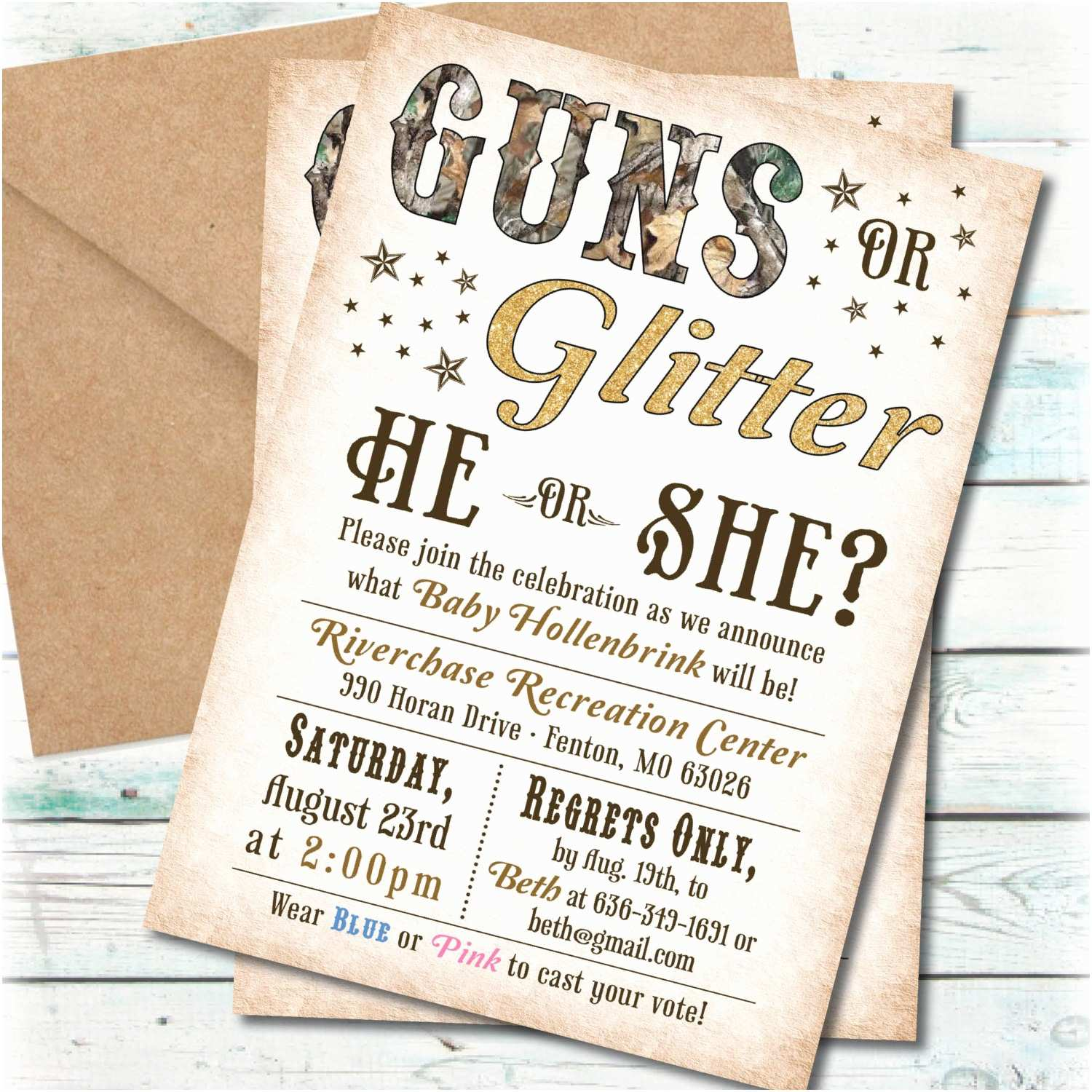printable guns or glitter gender reveal