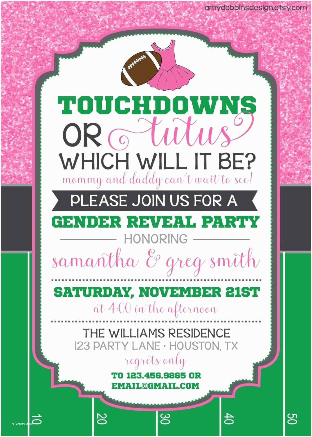 Reveal Party Invitations touchdowns or Tutus Gender Reveal Invitation Custom