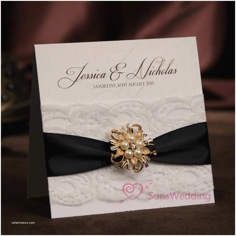 Ribbon Brooch Wedding Invitation Aliexpress Buy Rhinestone Brooch White Lace Wedding Invitations with Ribbon Personalized