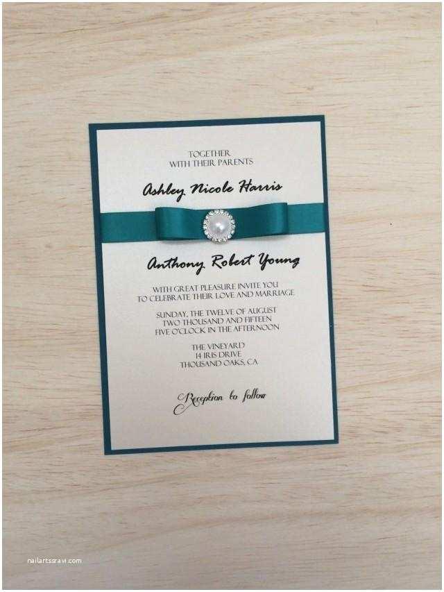 Ribbon Brooch Wedding Invitation Elegant Chic Wedding Invitation Teal Wedding Invitation Brooch Invitation Ribbon Invitation