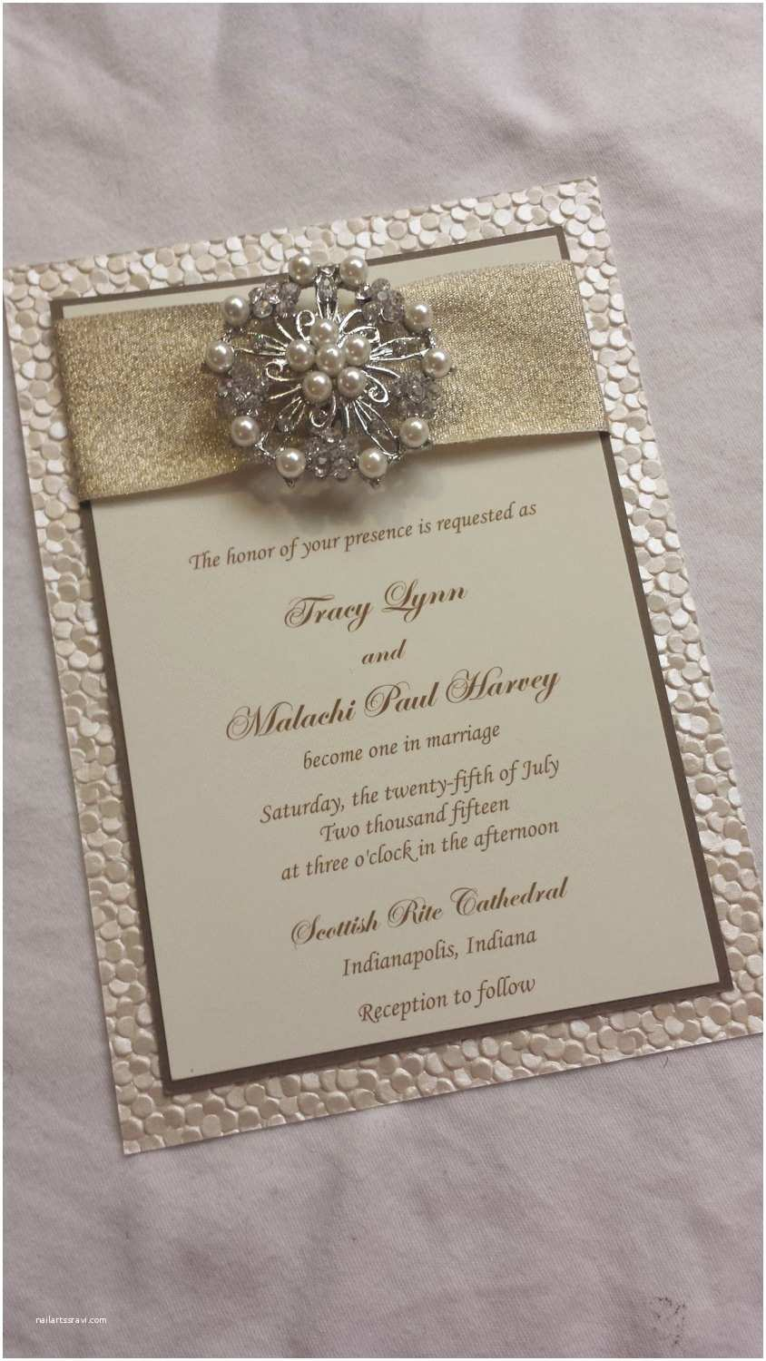 Ribbon Brooch Wedding Invitation Embossed Wedding Invitation Pebble Paper Wedding Invitation Sample with Ribbon Pearl Brooch