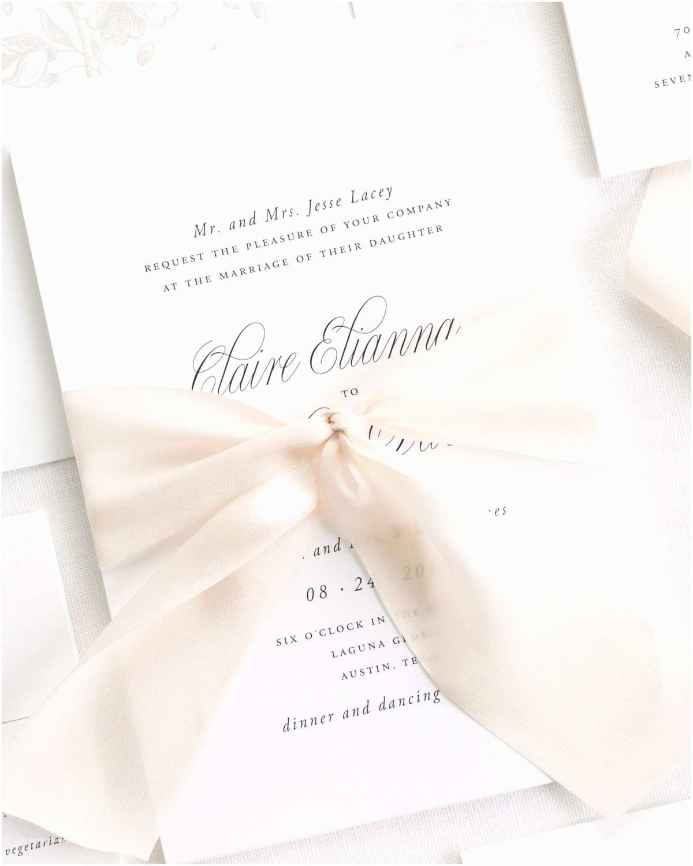 Ribbon Brooch Wedding Invitation Garden Elegance Ribbon Wedding Invitations Ribbon Wedding Invitations by Shine