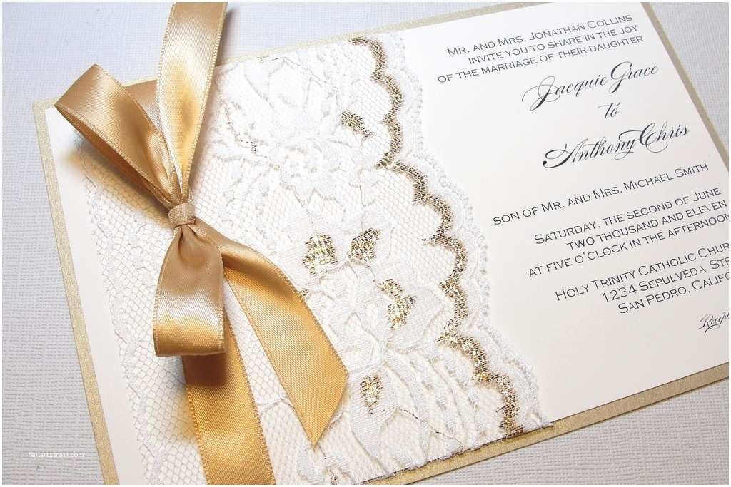 Ribbon Brooch Wedding Invitation Gilded Wedding Invitations Etsy Weddings Stationery Lace Gold Ribbon