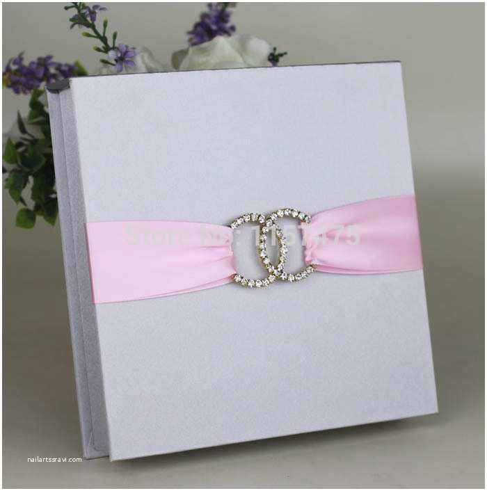 Ribbon Brooch Wedding Invitation Hi2005 Silver Dark Blue Silk Wedding Invitation Box with Ribbon and Brooch In event & Party