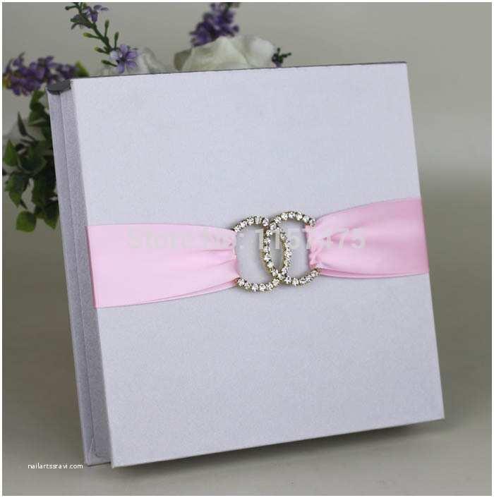 Ribbon Brooch Wedding Invitation Hi2005 Silver Dark Blue Silk Wedding Invitation Box with Ribbon and Brooch In event & Party