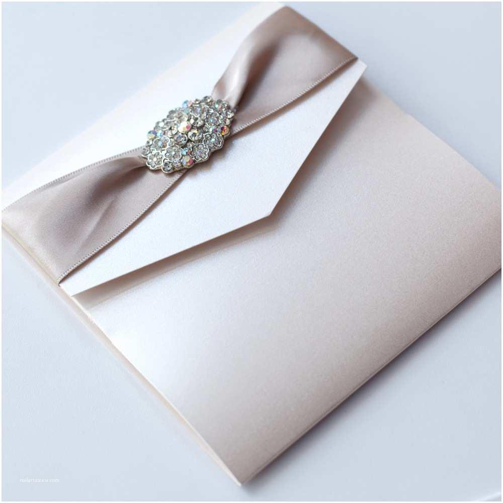 Ribbon Brooch Wedding Invitation Ivory Vintage Pocketfold Wedding Invitation with Vintage Style Brooch Mink Ribbon Vintage