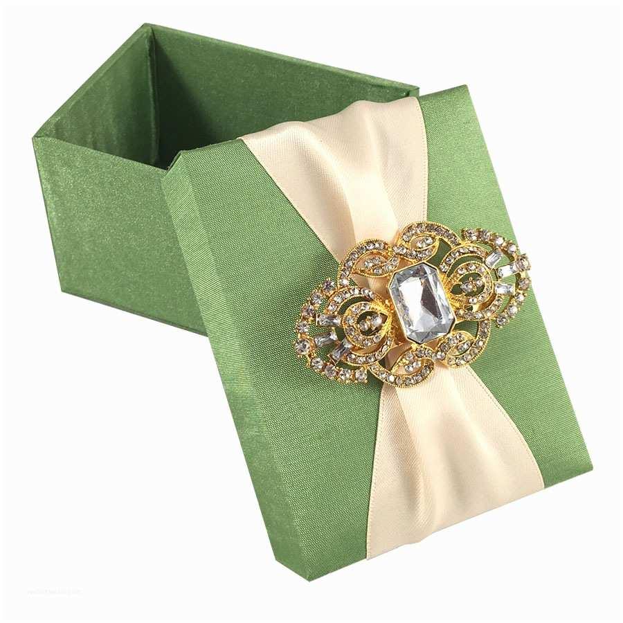 Ribbon Brooch Wedding Invitation Light Green Wedding Favour Box with Nude Ribbon & Gold Brooch Luxury Wedding Invitations