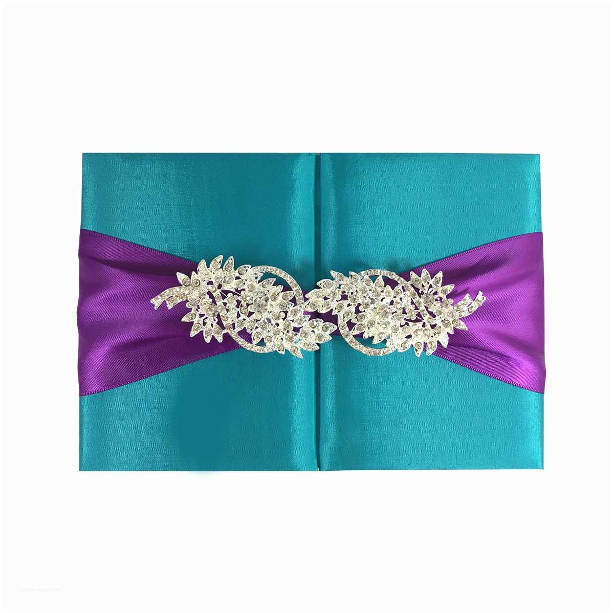 Ribbon Brooch Wedding Invitation Light Teal Color Silk Wedding Folder & Brooch Embellishment Luxury Wedding Invitations