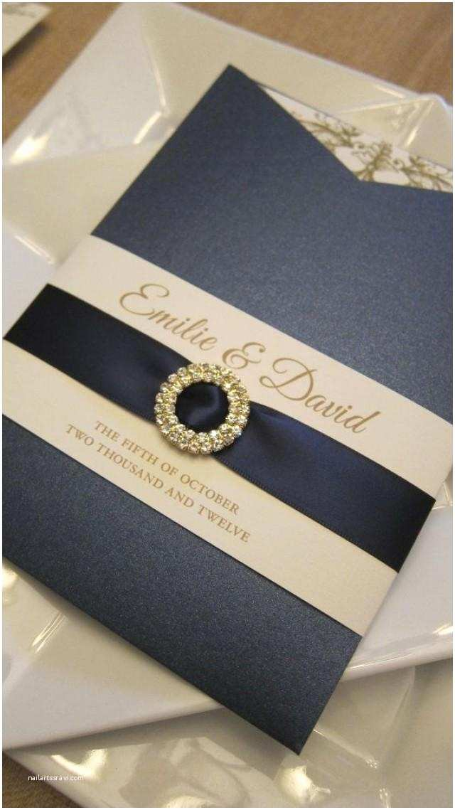 Ribbon Brooch Wedding Invitation Pocket Sleeve Navy and Gold Invitations with Satin Ribbon Sash and Crystal Brooch